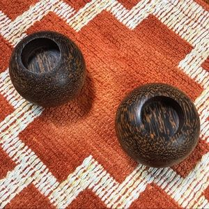 Rustic chic distressed wood round candle holders
